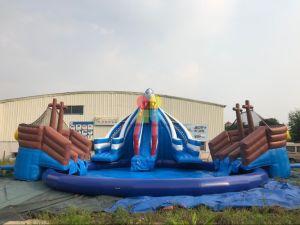 夏の熱い販売の爆発の販売の青のプールのためのプールおよびスライド装置が付いている膨脹可能な地下水公園