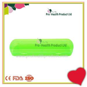 Cepillo de plástico transparente de viaje y la pasta de dientes caso