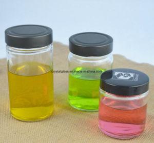 Glasglas für Stau-Gelee-Honig-Essiggurke mit schwarzer Deckel-Kappe