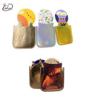 장식용 미러 만화 주석 포켓 미러를 접히는 주문 도매 안내장 PU
