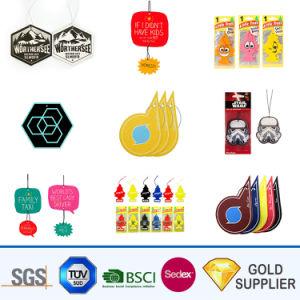 Personalizar el logotipo de la prima de la personalidad divertida promoción perfumada fragancia duradera coche Accesorios Ambientadores de coche de papel colgando el perfume del aire con caja de embalaje