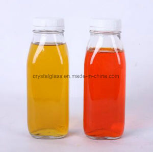 bottiglia di vetro quadrata francese della bevanda di 10oz 16oz con la protezione di plastica