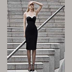 黒いVネックの優雅な膝の長さの包帯のプロムの服のイブニング・ドレス