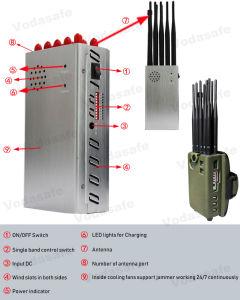 10 de Handbediende Stoorzender van de antenne voor CDMA/GSM/3G UMTS/4glte Cellphone +WiFi/Bluetooth +GPS+Lojack+R/C433/315/868MHz, de Stoorzender van het Bedrag van de Auto