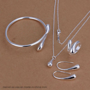 925 Sterling Silver Drop Bangles Necklace sonne Earrings Bijoux Set