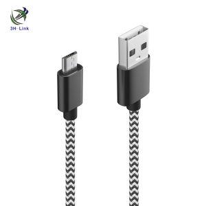 Cabo de telefone móvel micro USB com fio de nylon trançado Android v8 para a Samsung