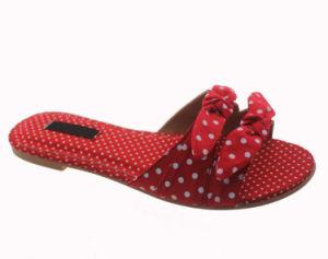 Tissu soie satiné noir Floral-Print Bow Diapositive chaussures plates