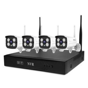 Casa de reconocimiento facial de seguridad del sistema de cámara Kit de NVR Cámaras IP CCTV inalámbricos