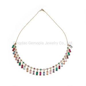 925 Prata, Bronze Quadrada Multi Color Jóias de colar
