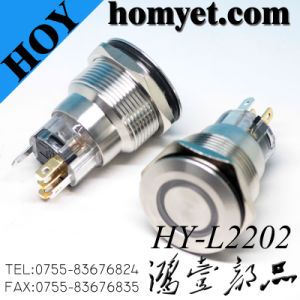 Anillo de protección IP67 de 22mm LED iluminado, el botón de Reset Interruptor metálico, Interruptor de botón