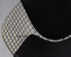 スチールダイニングKDブラックバックPUクッションワイヤーダイヤモンドチェア