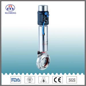 Medidas sanitarias de acero inoxidable SS304/SS316L Válvula de mariposa neumática
