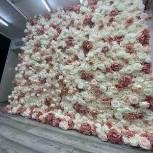 Fleurs de mariage personnalisé de gros mur de toile de fond fleurs de soie véritable Touch Latex rose fleur décorative en soie pour la décoration de mariage