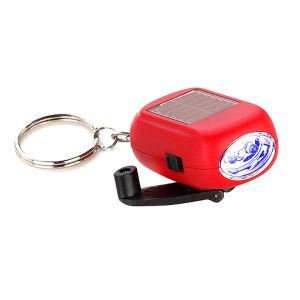 Torcia elettrica solare di Keychain della dinamo della manovella 2-LED del regalo di promozione mini