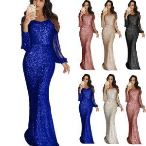Ropa de la fábrica nueva moda parte Sequin vestido de noche para mujer