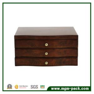 Contenitore di monili di legno nero di lusso reso personale di qualità superiore