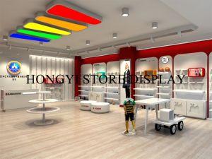 Boutique Hubsche de montage en rack du caisson de nettoyage de la fonction de l'enfant de 2 niveaux Double affichage du compteur de bac Kid Chaussures vitrine de bureau