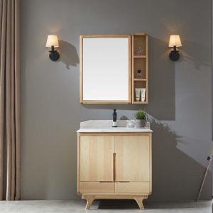 Cl sico de madera maciza de espejo gabinete de tocador de for Bajo gabinete tocador bano de madera
