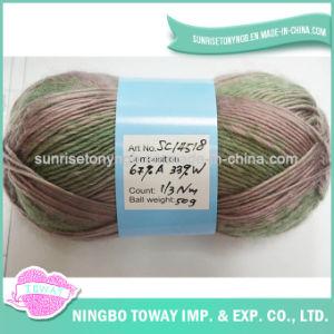 12S/4 Verde suave mistura de fios de lã acrílica para meias de tricotar