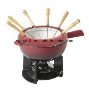 L'émail Fonte ensemble de la Fondue au chocolat à fondue avec fourches