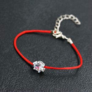 De zilveren Armband van het Koord van de Draad van de Kabel van Crystalszircon van de Bergkristallen van de Kleur Dunne Rode