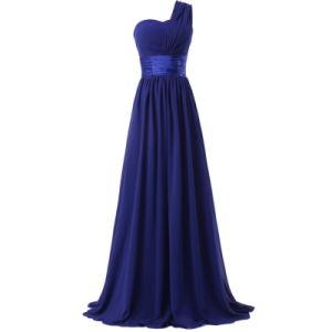 Mesdames une épaule mousseline de soie bleu marine longue robe de soirée