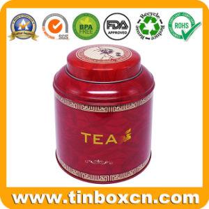Customized populares chá de metal comida Canister Embalagem Round possa Estanho chá com verniz brilhante