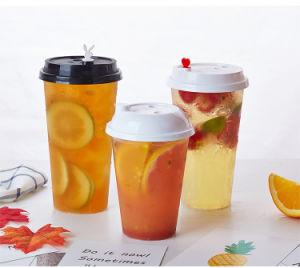Haut matériau transparent PP froid jetables de boire des verres en plastique avec couvercles et les pailles