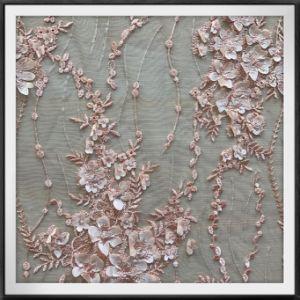 Mesh 3D Embroidery dentelle Dentelle de mariée robe de mariée de tissu pour