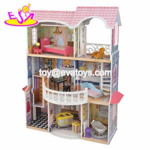 Dollhouse di legno lussuoso e variopinto di nuovo arrivo grande per i capretti W06A221