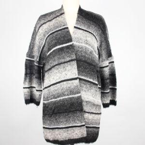 Banda de color degradado damas tejidos de punto chaqueta larga mujer tejer jersey de manga 3/4