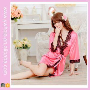 Chemise de nuit en soie Kimono Lingerie sexy sexy en perruque avec ourlet en dentelle