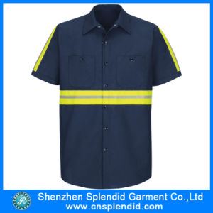 Camicia all'ingrosso del tasto del lavoro del franco del manicotto di Short di estate del collare della camicia