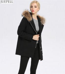 Cappotto incappucciato delle donne della pelliccia del collare della pelliccia delle lane delle donne di lunghezza di nuovo inverno del cappotto delle donne dell'Europa