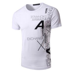 O-Stutzen-T-Shirt Baumwollder einzelnen Jersey-Männer mit kundenspezifischem Kennsatz