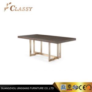 Base de aço inoxidável retangular de estilo tradicional mesa de jantar em madeira