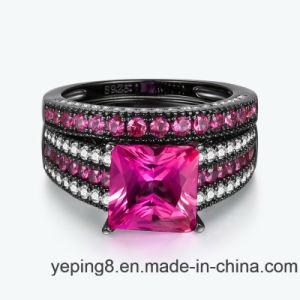 Insieme d'argento dell'anello dei monili di colore rosa 925 neri di modo di placcatura del Rhodium