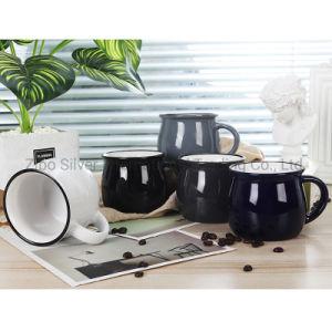 Hot Sale Rim en céramique émaillée de couleur noir de l'émail tasse à café