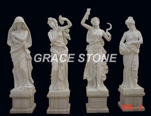 De God van de vier seizoenen, het Beeldhouwwerk van de Steen, Marmeren Standbeeld (gs-004)