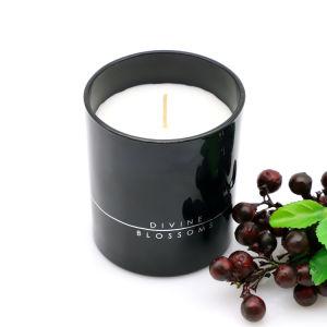 Venda a quente rótulo privado cheio de cera jarra de vidro de vela para decoração