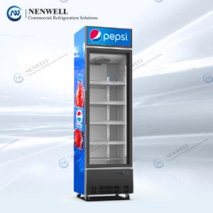 Comercial Auto Defrost Soda bebida fría y cerveza 1 (Individual) Puerta de vidrio pantalla vertical nevera con caja de luz para Pepsi Y Coca Cola (NW-LC368LW)