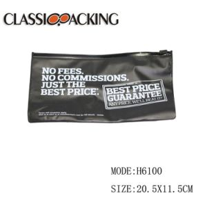 Couleur Noir multifonctionnelle personnalisés lettres imprimées sac de plastique PVC avec fermeture à glissière