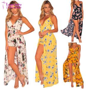 La mode sling imitation Floral Wrap Maxi robe de Romper Beachwear L55349-4