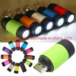 La promoción de mini USB de bolsillo recargable linterna llavero linterna llavero Lámpara de luz LED llavero