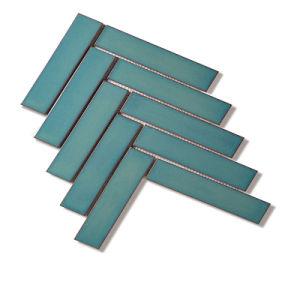 tegel van het Mozaïek van het Porselein van het Kristal van 32.5X145mm de Groene Glanzende Visgraat Verglaasde
