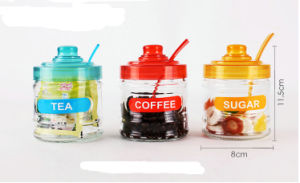 قهوة زجاجيّة, سكر, شام تخزين مرطبان يثبت مع ملعقة