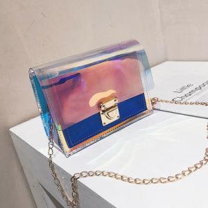 Cintilante Cadeia holográfico Saco a tiracolo geléia de mulheres em PVC transparente na bolsa