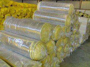 黄色いカラー管の熱絶縁体ロールアルミホイルのグラスウール
