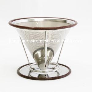 ゴムリングおよび取り外し可能なコップの立場が付いている再使用可能なステンレス鋼の倍の網のコーヒーのフィルター