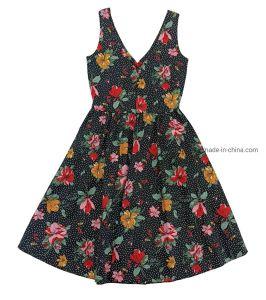 De la mujer de moda casual con cuello en V vestido impreso